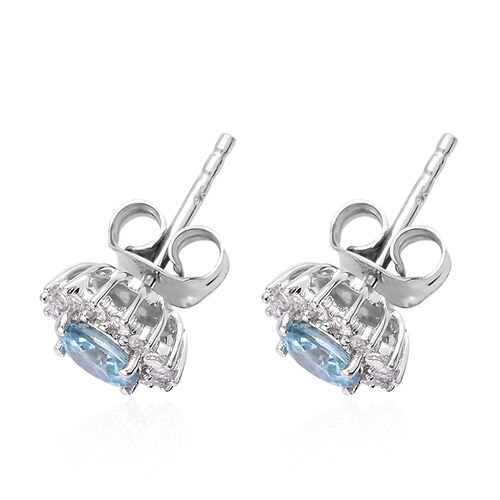 9K White Gold AA Blue Zircon (Rnd), Natural Cambodian Zircon Stud Earrings (with Push Back) 1.550 Ct.