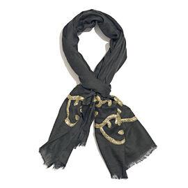 Hand Embellished Golden Sequin Black Scarf (Size 180X70 Cm)