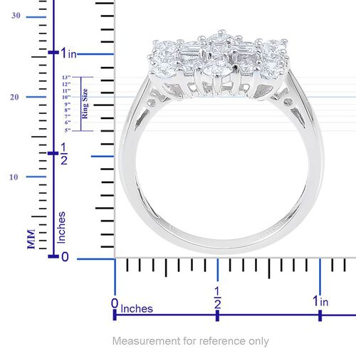 ILIANA 18K White Gold 1 Carat Diamond Boat Cluster Ring, SI G-H, IGI Certified