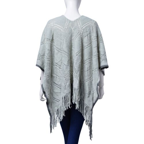 Grey and Light Green Colour Diamond and Floral Pattern Poncho (Size 90x60 Cm)