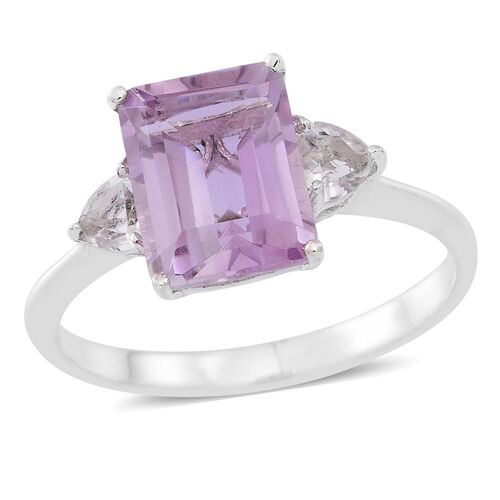 Rose De France Amethyst (Oct 3.00 Ct), White Topaz Ring in Sterling Silver 3.500 Ct.