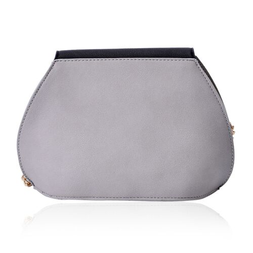 Sofia Grey and Black Colour Block Crossbody Bag with Chain Strap (Size 20x15x10 Cm)