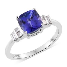 ILIANA 18K W Gold AAA Tanzanite (Cush 2.85 Ct), Diamond (SI/G-H) Ring 3.150 Ct.