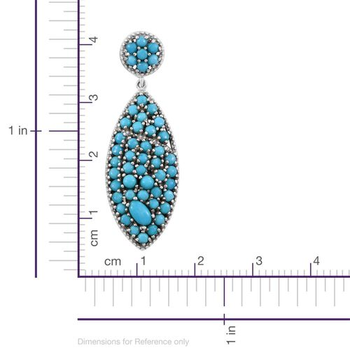 Limited Edition- AAA Arizona Sleeping Beauty Turquoise (Rnd) Earrings (with Push Back) in Platinum Overlay Sterling Silver 4.750 Ct. 98 Sleeping Beauty Stones