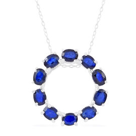 Kanchanaburi Blue Sapphire (Ovl) Circle of Life Pendant with Chain in Sterling Silver 2.000 Ct.