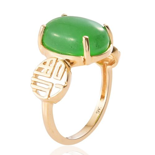 9K Y Gold Green Jade (Ovl) Solitaire Ring 7.000 Ct.