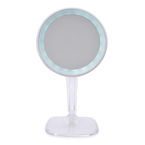 White Colour LED Mirror with USB Charge Cable (Size 34 Cm) 5 x mag.