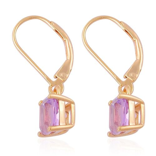 Rose De France Amethyst (Cush) Lever Back Earrings in Yellow Gold Overlay Sterling Silver 2.500 Ct.