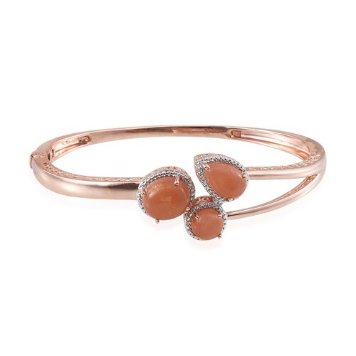 Morogoro Peach Sunstone (Ovl 4.75 Ct), Diamond Bangle (Size 7.5) in Rose Gold Overlay Sterling Silver 10.020 Ct.