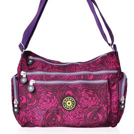 Fuchsia and Purple Colour Floral Pattern Multi Pocket Waterproof Crossbody Bag with Adjustable Shoulder Strap (Size 27.5X20X11 Cm)