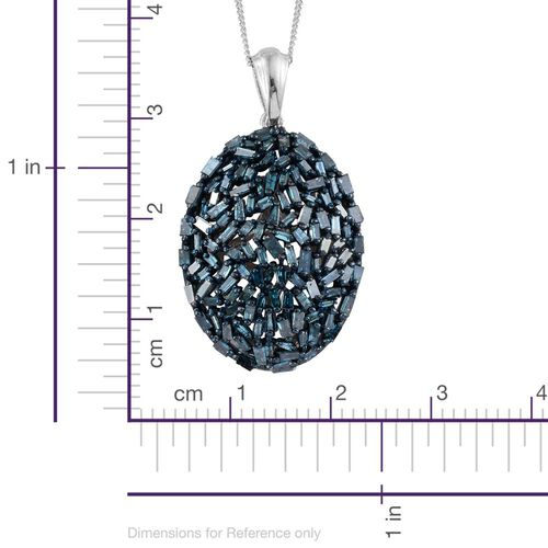Designer Inspired- Fireworks Blue Diamond (Bgt) Cluster Pendant with Chain in Platinum Overlay Sterling Silver 1.500 Ct.