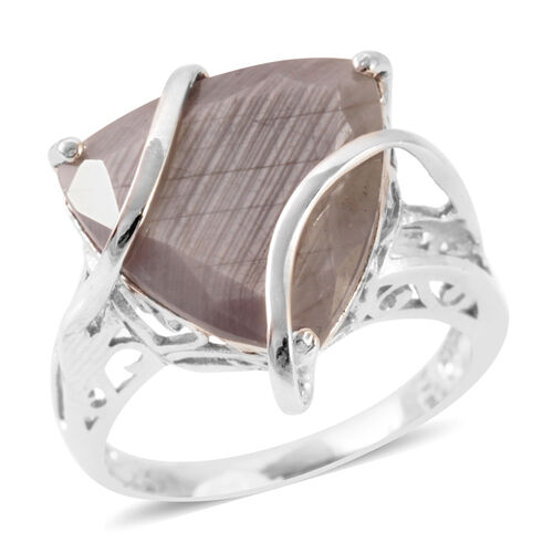 Natural Silver Sapphire (Trl) Solitaire Ring in Rhodium Plated Sterling Silver 15.000 Ct.
