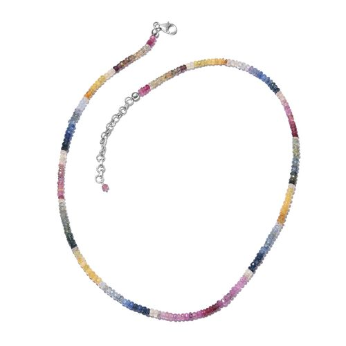 Limited Edition-AAA Rainbow Sapphire (Rnd) Beads Necklace (Size 18 with 2 inch Extender) in Platinum Overlay Sterling Silver 67.500 Ct.