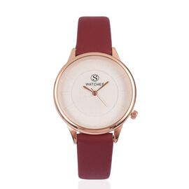 STRADA Japanese Movement White Dial Water Resistant Watch in Rose Gold Tone with Maroon Colour Strap