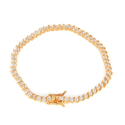 ELANZA AAA Simulated Diamond (Rnd) Bracelet in 14K Gold Overlay Sterling Silver (Size 7) (Sterling Silver Wt 8 grams Min)
