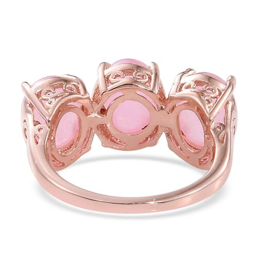 Pink Jade (Ovl) Trilogy Ring in Rose Gold Overlay Sterling Silver 6.750 Ct.
