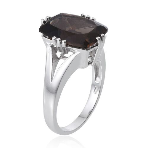 Brazilian Smoky Quartz (Cush) Solitaire Ring in Platinum Overlay Sterling Silver 8.500 Ct.
