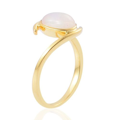 Ethiopian Welo Opal (Ovl) Solitaire Ring in Yellow Gold Overlay Sterling Silver 0.750 Ct.