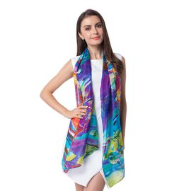 100% Mulberry Silk Purple, Blue and Multi Colour Lily Flower Pattern Scarf (Size 175x53 Cm)