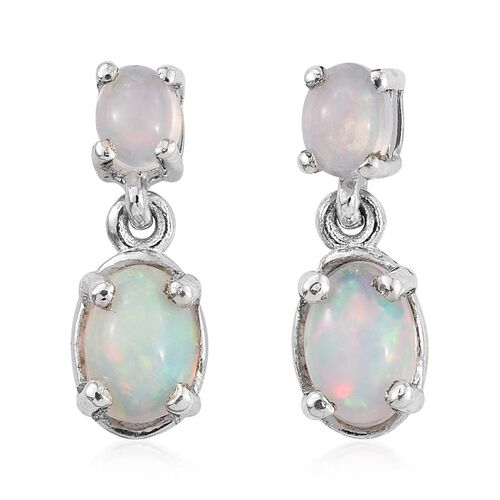 Ethiopian Welo Opal (Ovl) Earrings (with Push Back) in Platinum Overlay Sterling Silver 1.000 Ct.