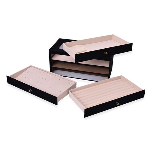 Black Colour 3 Drawer Jewellery Box (Size 29x16x14 Cm)