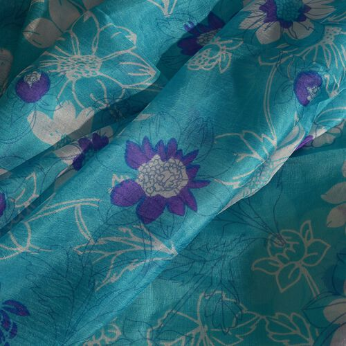 100% Mulberry Silk Purple and White Colour Floral Pattern Sea Blue Colour Scarf (Size 180X50 Cm)