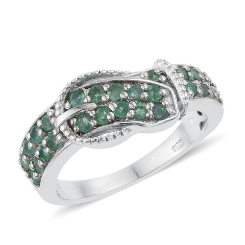 Kagem Zambian Emerald (Rnd) Buckle Ring in Platinum Overlay Sterling Silver 0.750 Ct.