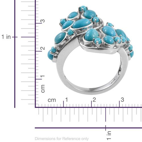 Arizona Sleeping Beauty Turquoise (Ovl) Ring in Platinum Overlay Sterling Silver 4.000 Ct.