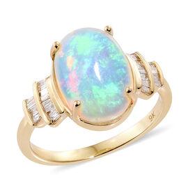 9K Y Gold AAA Ethiopian Welo Opal (Ovl 4.35 Ct), Diamond Ring 4.500 Ct.