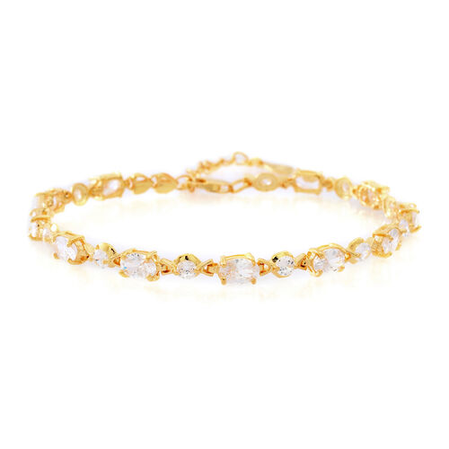 One Time Deal-ELANZA AAA Simulated White Diamond (Ovl and Rnd) Bracelet (Size 7 with 1 inch Extender) in 14K Gold Overlay Sterling Silver