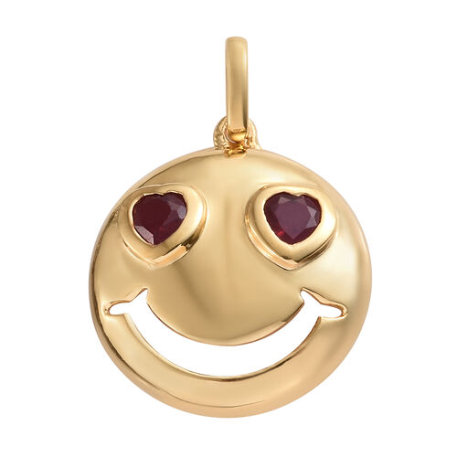 African Ruby 0.75 Ct Smiling Face with Heart-Eyes Smiley Silver Pendant in Gold Overlay