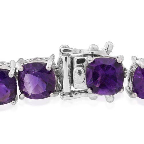 Super Auction- One Time Deal - Amethyst (Cush) Bracelet (Size 7.5) in Rhodium Plated Sterling Silver 33.750 Ct.