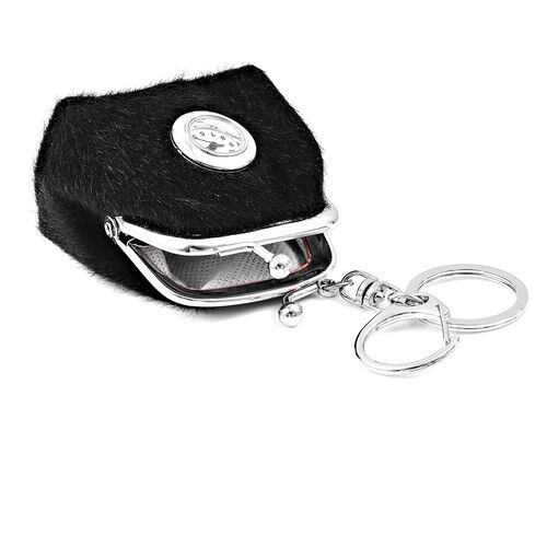 Set of 2 - STRADA Japanese Movement White Dial Black Colour Coin Purse Design Water Resistant Key Chain Watch in Silver Tone