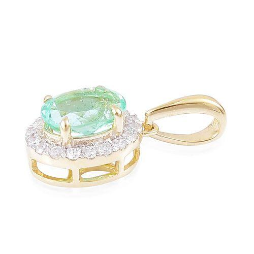 1.25 Ct AA Boyaca Colombian Emerald and Diamond Halo Pendant in 9K Gold
