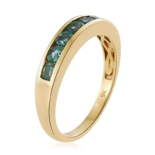 Limited Edition- 9K Y Gold AA Boyaca Colombian Emerald (Rnd) 7 Stone Band Ring 1.000 Ct.
