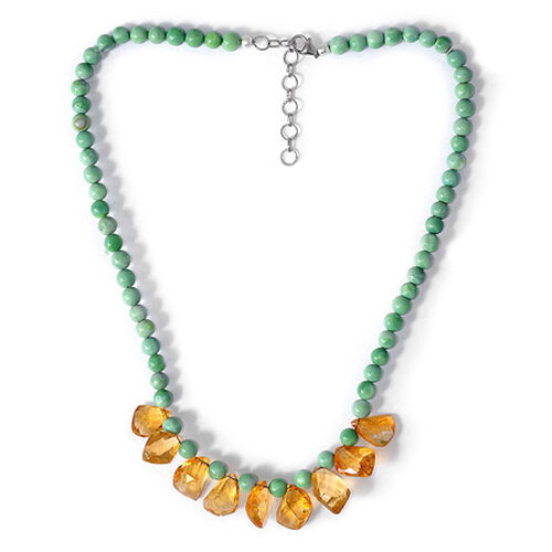 COLOUR COUTURE Citrine, Natural Peruvian Mint Green Opal Enhanced Necklace (Size 18) in Sterling Silver 120.750 Ct.