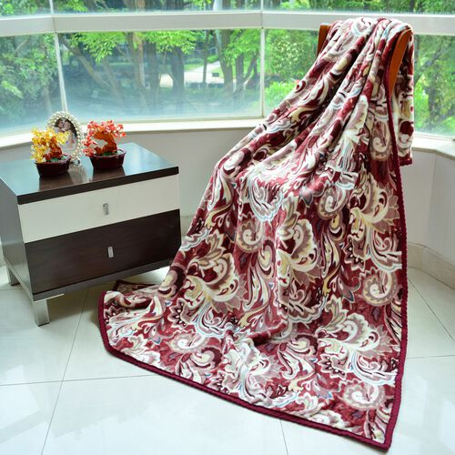Superfine 290 GSM Microfibre Printed Flannel Blanket with Paisley Design and Knitted Border 150X200 cm