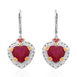 Designer Inspired - African Ruby (Hrt), Burmese Ruby Lever Back Earrings in Rhodium and 14K Gold Overlay Sterling Silver 9.750 Ct. Silver wt 5.45 Gms.