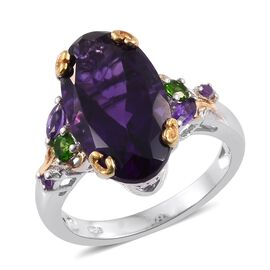 Lusaka Amethyst (Ovl), Russian Diopside Ring in Platinum and Yellow Gold Overlay Sterling Silver 7.750 Ct.