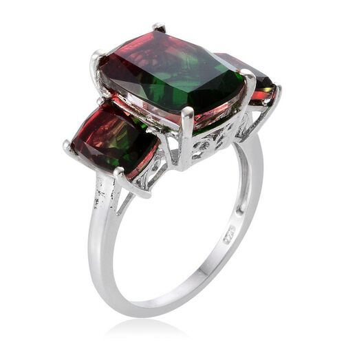 Tourmaline Colour Quartz (Cush 7.65 Ct) 3 Stone Ring in Platinum Overlay Sterling Silver 10.150 Ct.