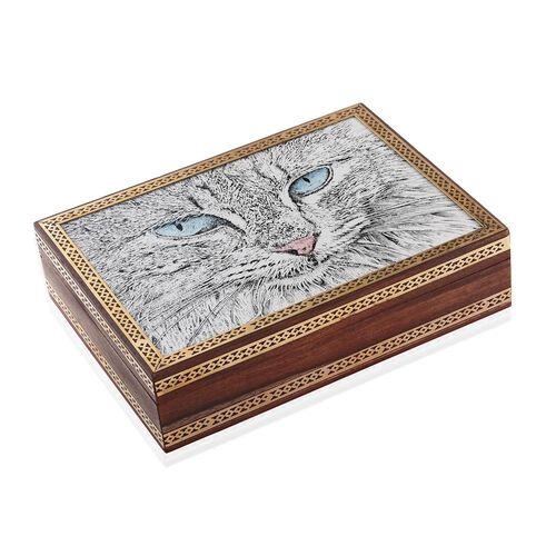 Handcrafted Wooden Gemstone Jewellery Box with Cat Painting on Top (Size 21x16x5 Cm)