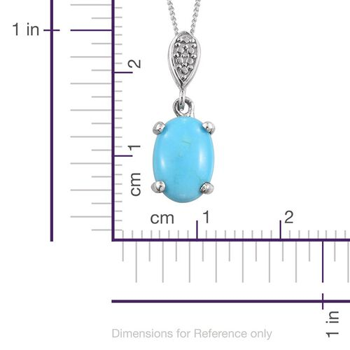 Arizona Sleeping Beauty Turquoise (Ovl) Solitaire Pendant With Chain in Platinum Overlay Sterling Silver 1.500 Ct.