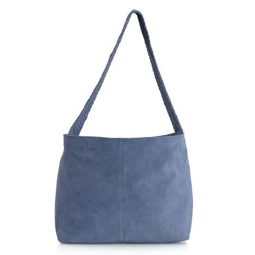 Genuine Leather Indigo Blue Colour Handbag with Thick Braided Shoulder Strap (Size 42x27 Cm)