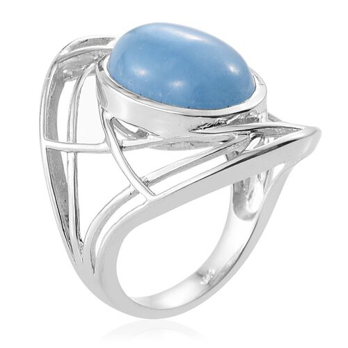 Blue Jade (Ovl) Ring in Platinum Overlay Sterling Silver 11.250 Ct.