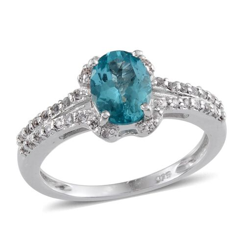 Paraibe Apatite (Ovl 1.00 Ct), White Topaz Ring in Platinum Overlay Sterling Silver 2.000 Ct.