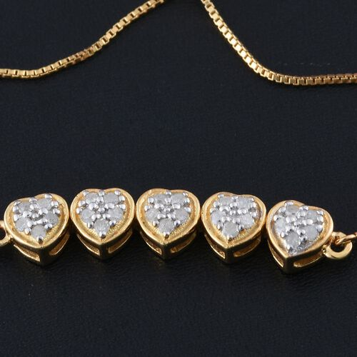Silver 0.25 Carat Diamond Adjustable Heart Bracelet in Gold Overlay (Size 6.5)