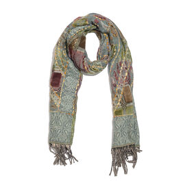 Hand Embroidered Adda Work from India -  Grey, Green and Multi Colour Floral Pattern Hand Embroidered Scarf with Tassels (Size 200X67 Cm)