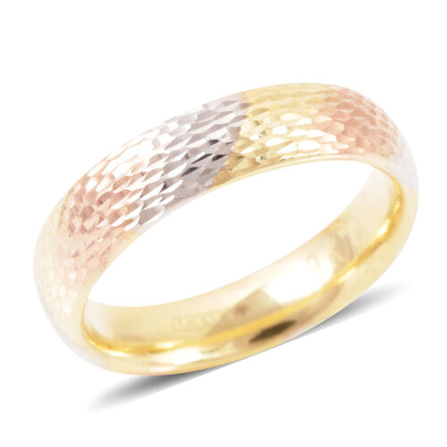 Limited Edition Heavy Weight Tri Coloured Royal Bali Collection 9K Gold Band Ring