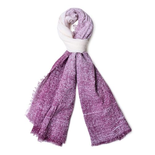 Purple and White Colour Ombre Pattern Scarf with Fringes (Size 180X90 Cm)