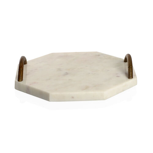 Octagonal Shape Marble Cake Tray with Handle (Size 23X23 Cm)